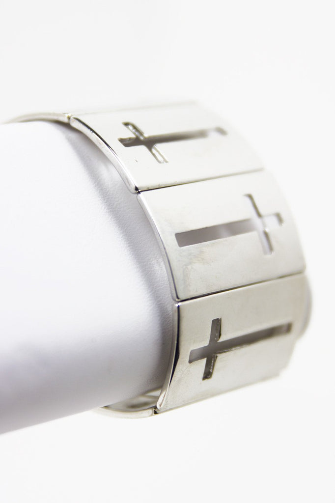 CUTOUT CROSS SILVER PLATE BRACELET (Final Sale) - Haute & Rebellious