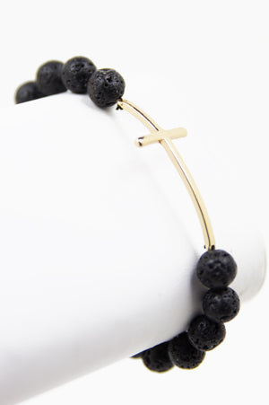 STONE MARBLE BRACELET WITH CROSS - Haute & Rebellious