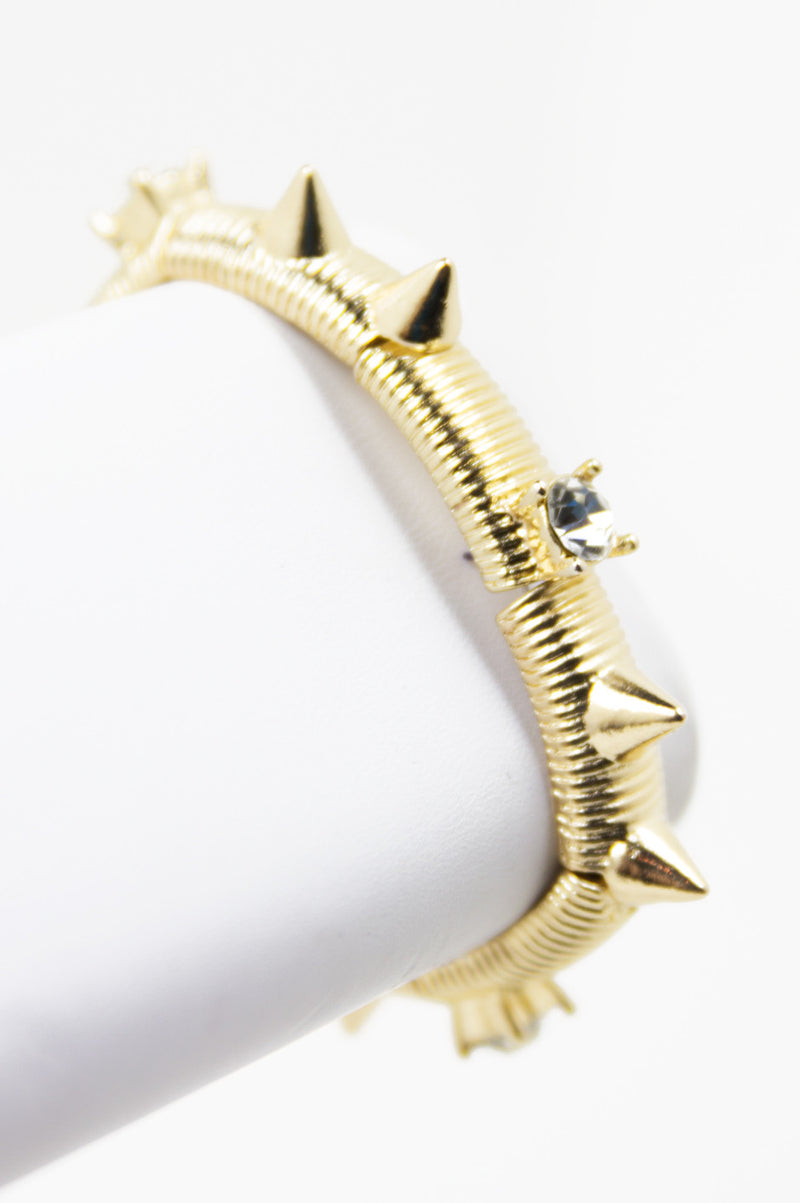 SPIKES AND CRYSTAL STUD BRACELET (Final Sale) - Haute & Rebellious