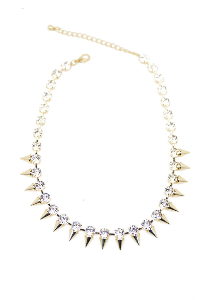 CRYSTAL STUDS & SPIKES NECKLACE - Gold