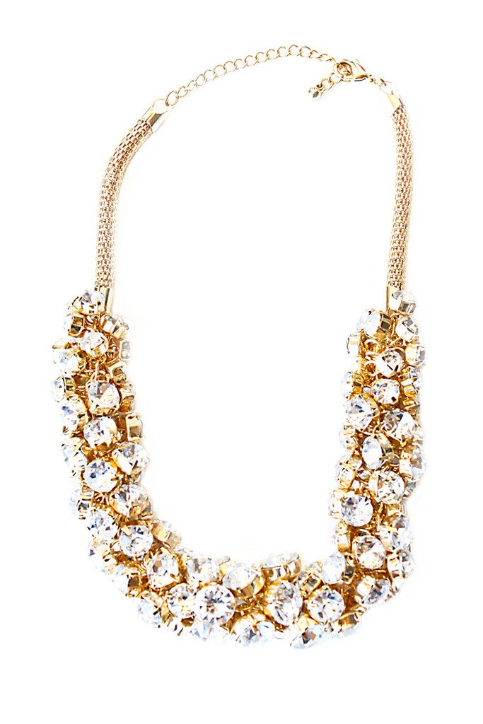 GOLD FLOWER POP CRYSTALS NECKLACE