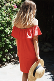 Yisa Ruffle Off-Shoulder Linen Dress