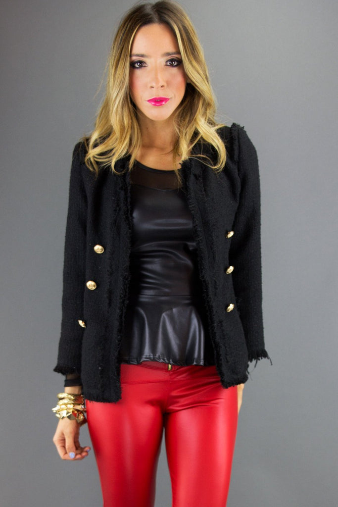 A LA COCO TWEED JACKET - Black