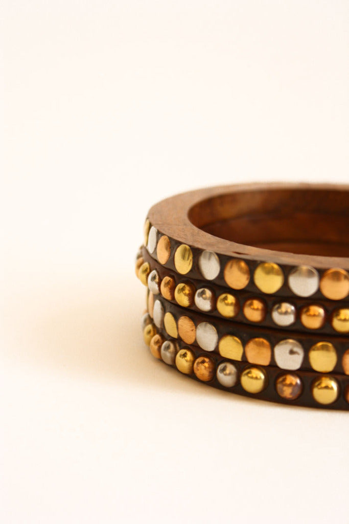 WOODEN BANGLES WITH GOLD ACCENT