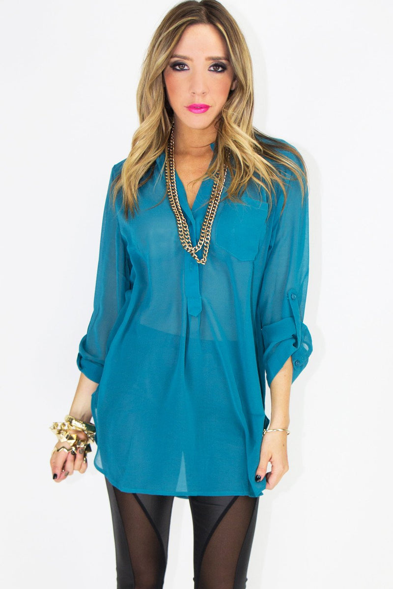 BASIC CHIFFON TWO-POCKET BLOUSE - Haute & Rebellious