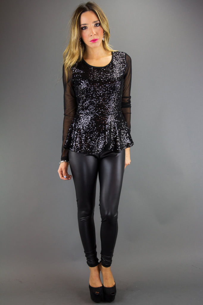 SEQUIN PEPLUM TOP WITH MESH (Final Sale)