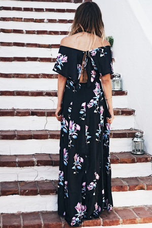 Talk To Me Floral Maxi Dress - Black - Haute & Rebellious