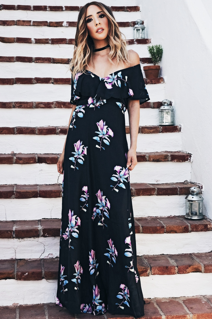 Talk To Me Floral Maxi Dress - Black