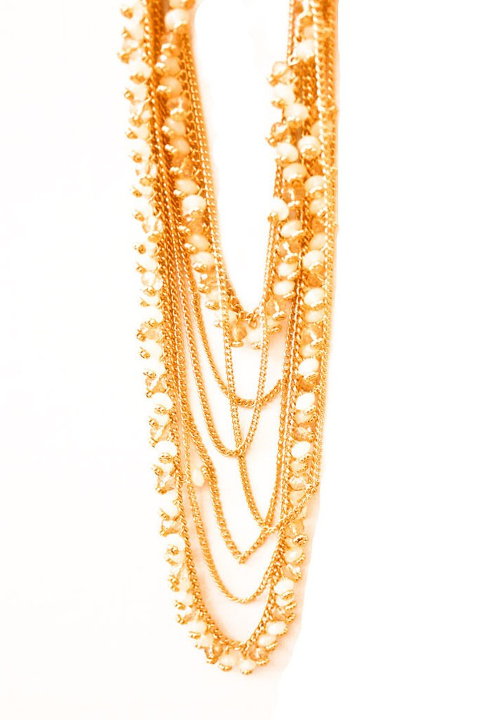 LONG NECKLACE WITH OFF WHITE STONES - Haute & Rebellious