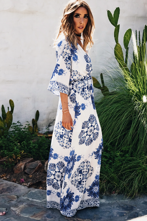 Santorini Print Maxi Dress - Haute & Rebellious