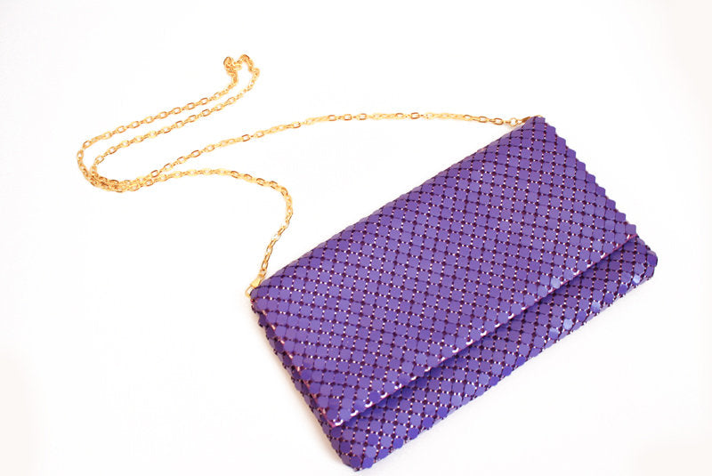 PURPLE METAL SEQUIN CLUTCH