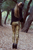 METALLIC BROCADE  PRINT SKINNIES