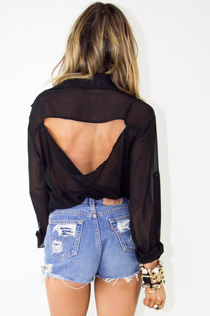 STUDDED CROSS CHIFFON BLOUSE - Black - Haute & Rebellious