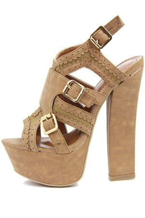 KIMBERLY CHUNKY HEEL - Brown Beige - Haute & Rebellious