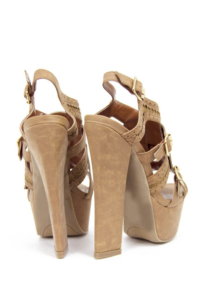 KIMBERLY CHUNKY HEEL - Brown Beige