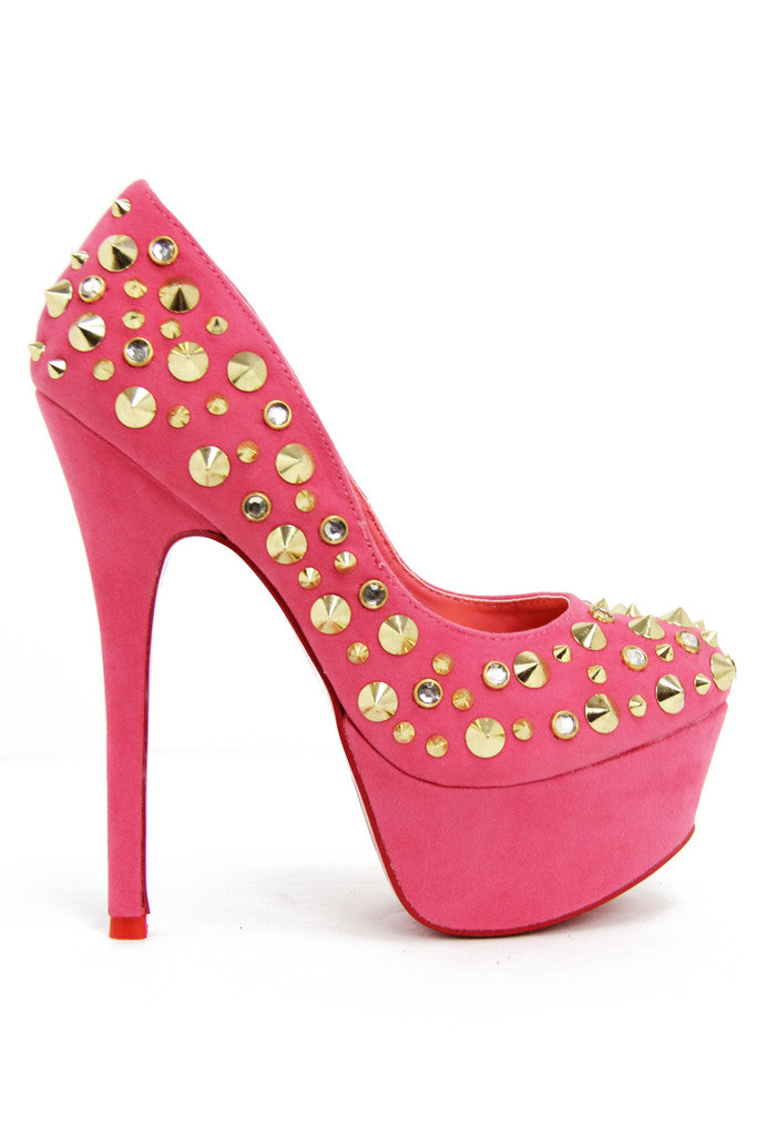 STUDDED PLATFORM PUMP - Coral (Final Sale)