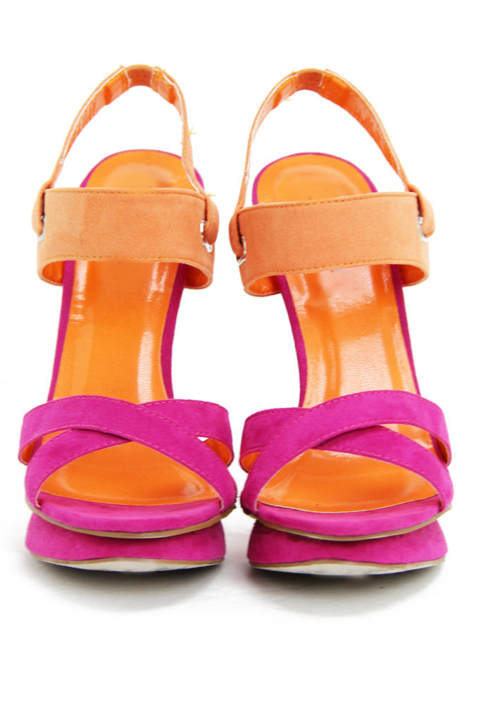 TWO TONE HEEL - Fuchsia/Orange