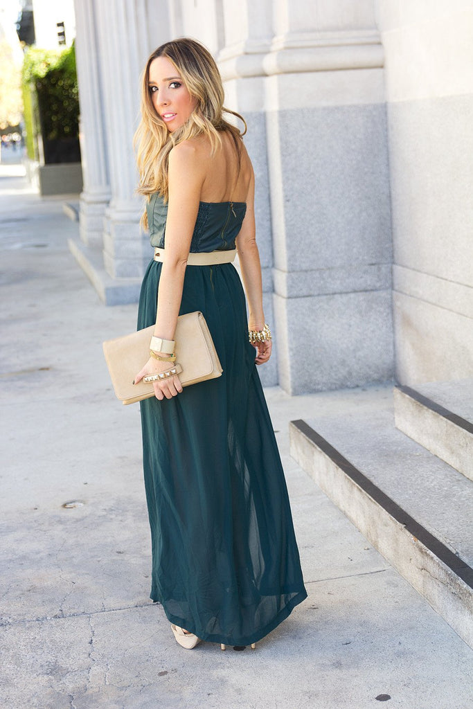 LEATHER BUSTIER DOUBLE SLIT MAXI