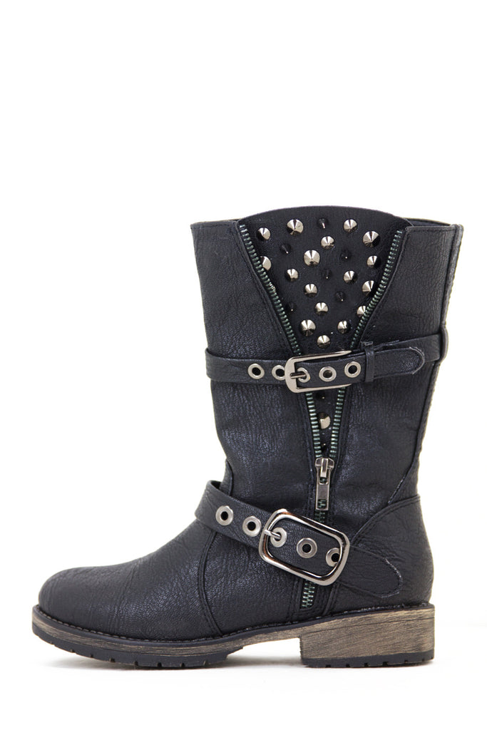 STUDDED COMBAT BOOT - Black