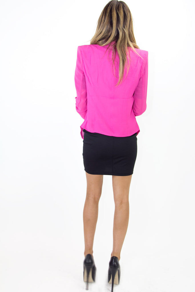 POINTY BLAZER WITH CHIFFON SLEEVES - Fuchsia