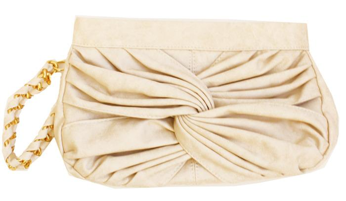 Haute & Rebellious NODDED BEIGE CLUTCH in [option2]