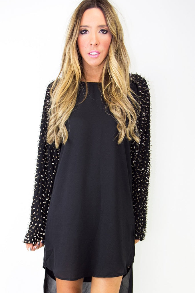 BEADED LONG SLEEVE TUNIC - Black