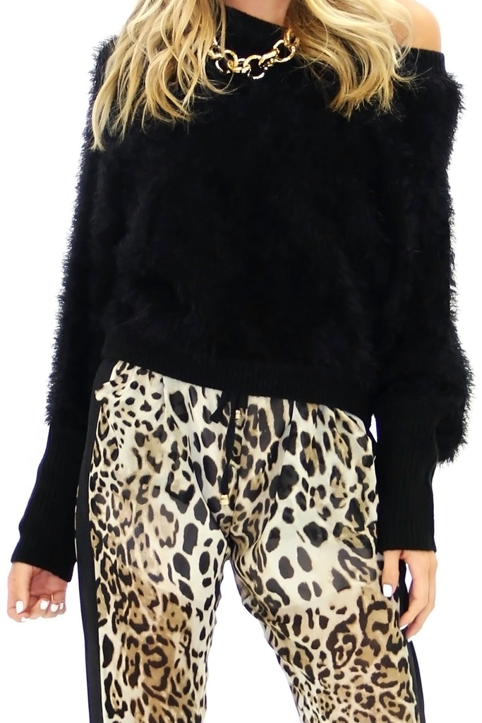 VELA SHAG FUR SWEATER - Black