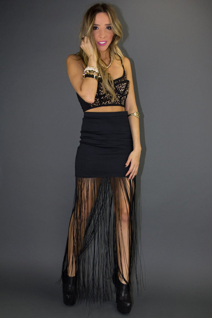 FRINGE SKIRT - Black