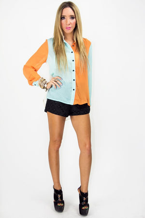 MULTICOLOR CHIFFON BLOUSE - Orange/Mint - Haute & Rebellious