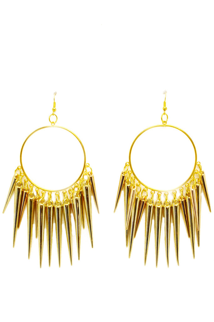 STUDDED CIRCLE EARRINGS - Gold - Haute & Rebellious