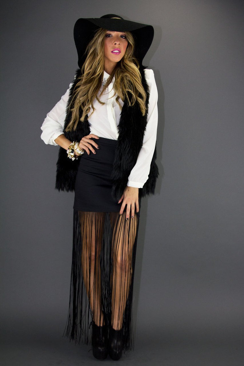 FRINGE SKIRT - Black - Haute & Rebellious