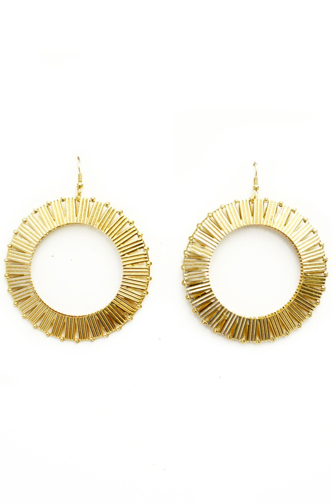 CIRCLED TEXTURED EARRINGS - Gold (Final Sale)