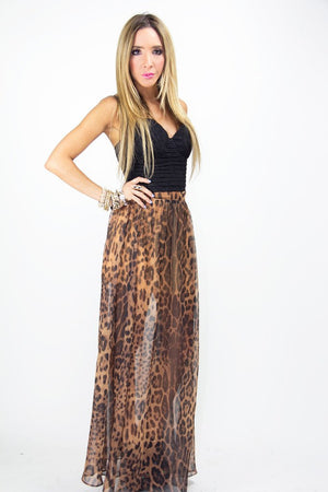 LEOPARD CHIFFON SKIRT WITH  SLITS - Haute & Rebellious