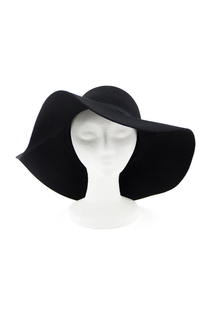 WIDE BRIM FLOPPY WOOL HAT - Black
