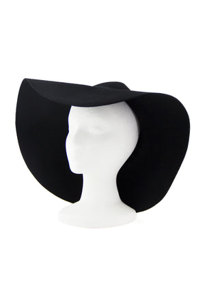 WIDE BRIM FLOPPY WOOL HAT - Black - Haute & Rebellious