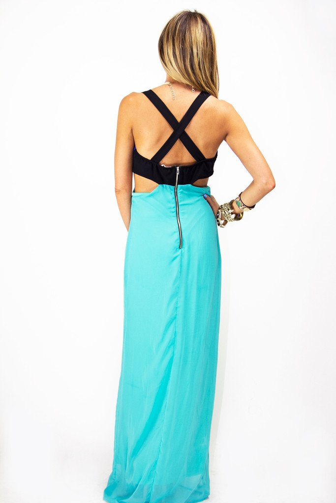 CUTOUT MAXI DRESS - Blue/Teal