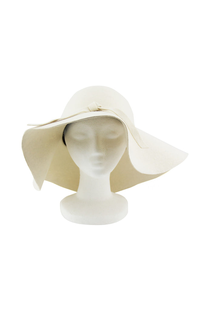 WIDE BRIM FLOPPY HAT - White