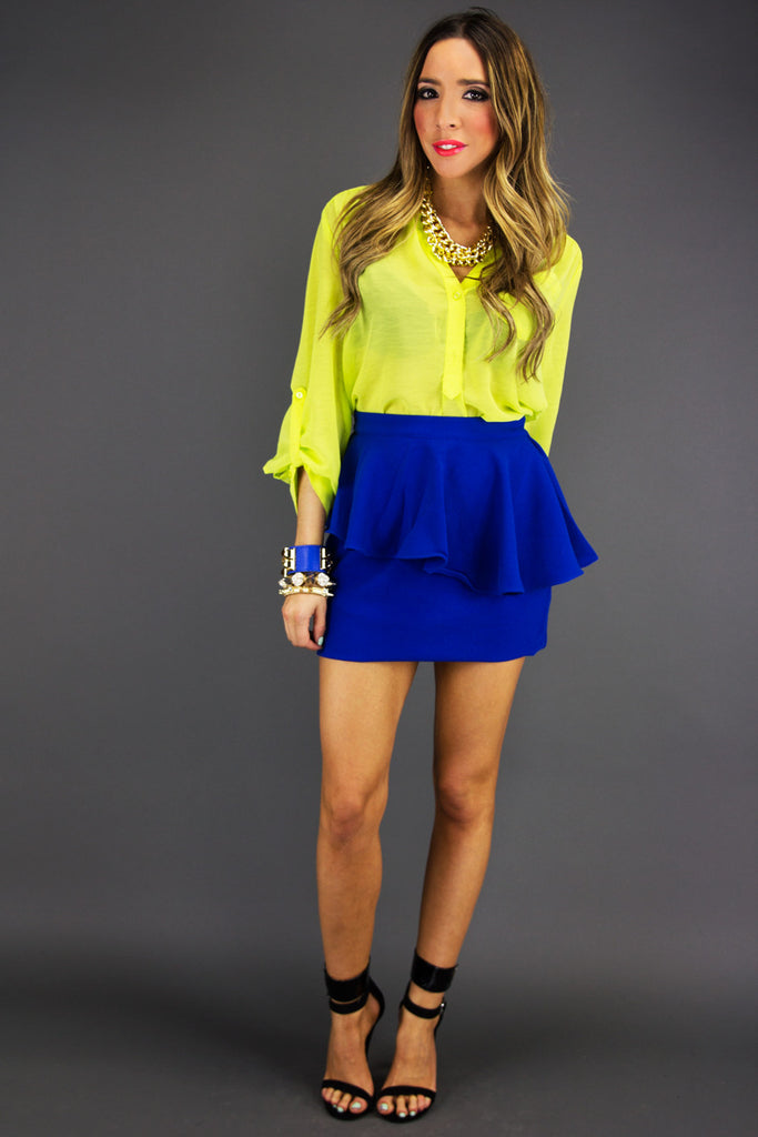 PEPLUM SKIRT - Electric Royal Blue - Haute & Rebellious