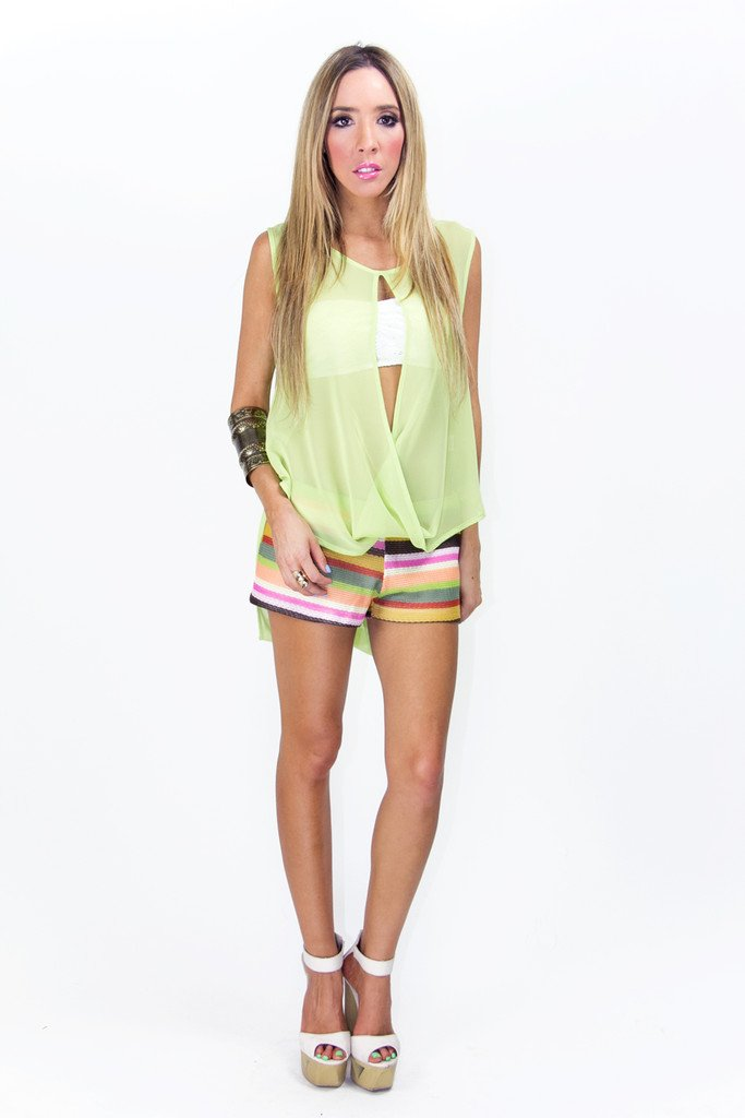 LIME GREEN CUTOUT NECK BLOUSE