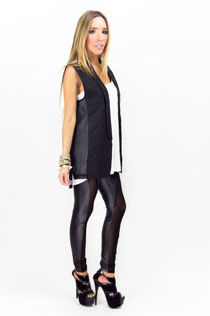 BLACK CONTRAST MESH LEGGINGS - Haute & Rebellious