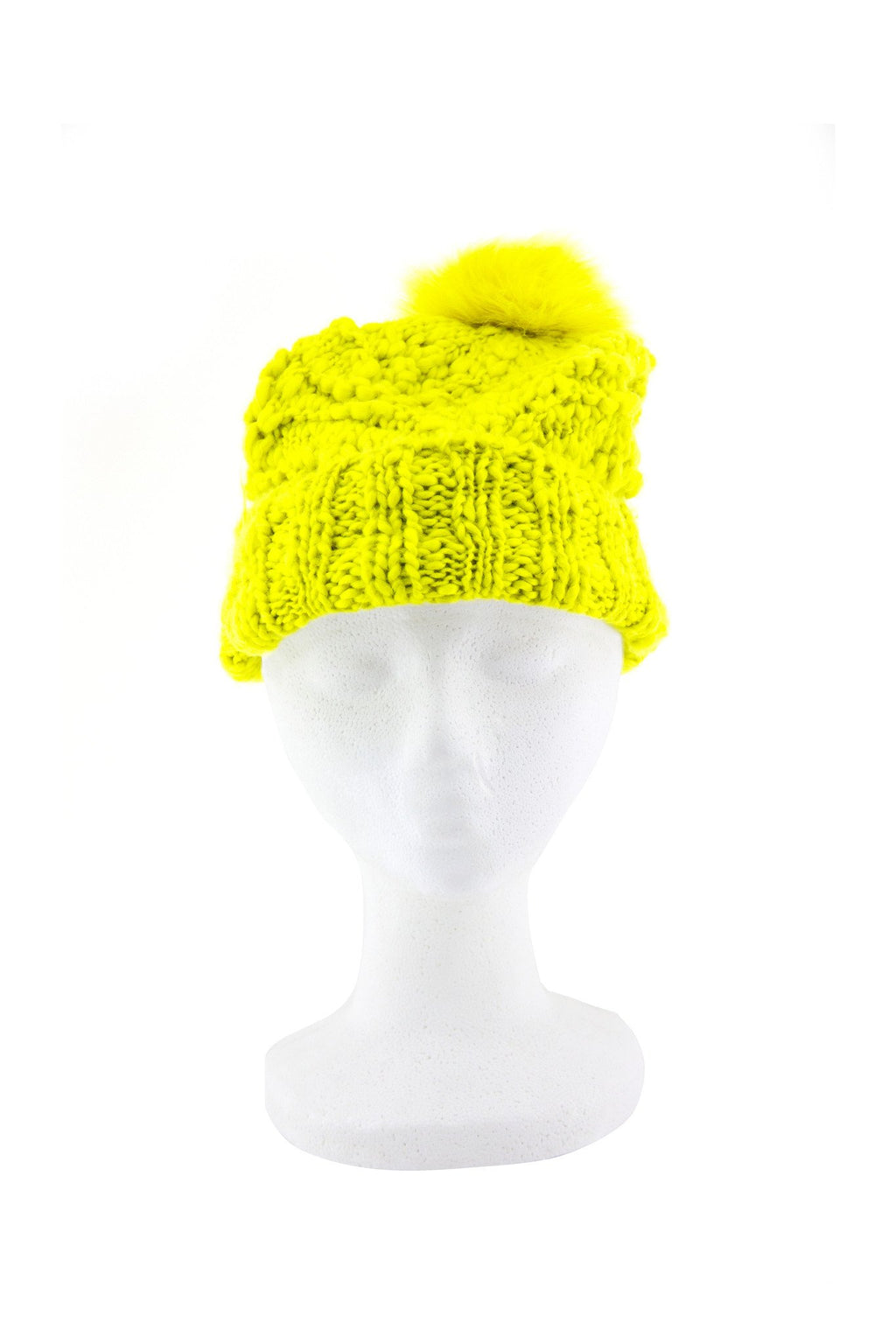 FUR TOP BEANIE - Lime - Haute & Rebellious