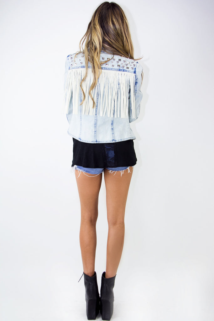STUDDED FRINGE CROP DENIM JACKET