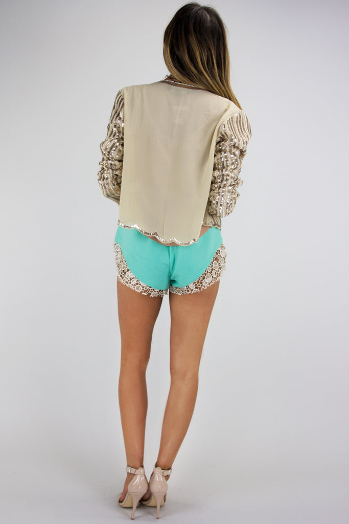 SEQUIN CARDIGAN - Beige/Gold
