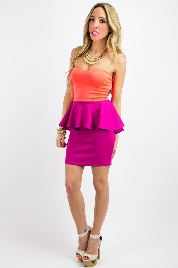 NALA NEON TWO-TONE STRAPLESS DRESS