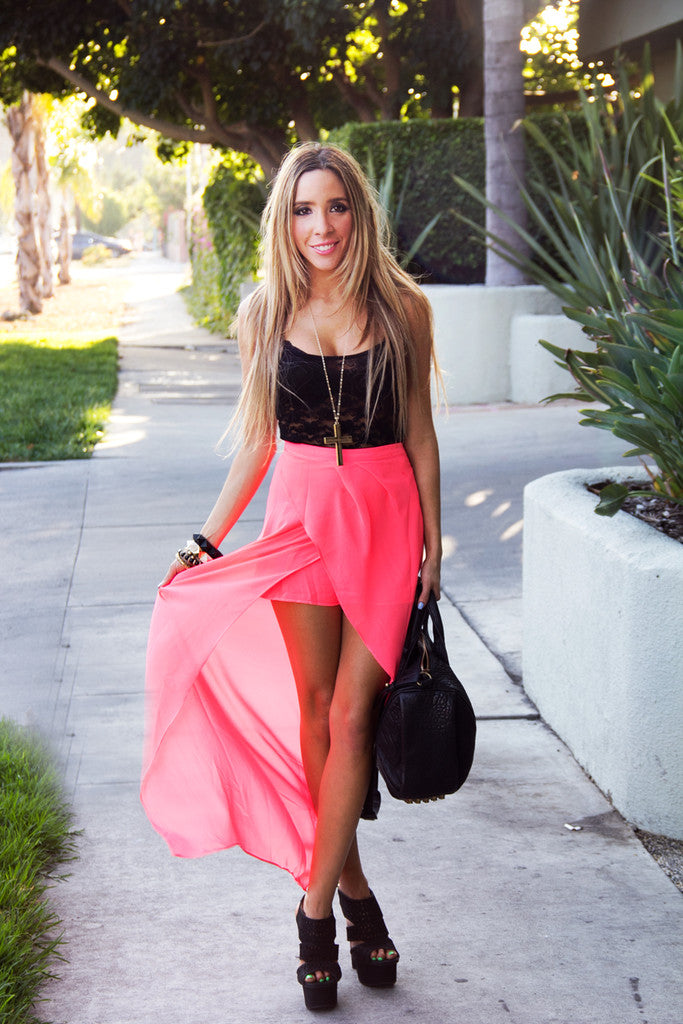 TULIP CHIFFON SKIRT WITH SHORTS - Neon Pink