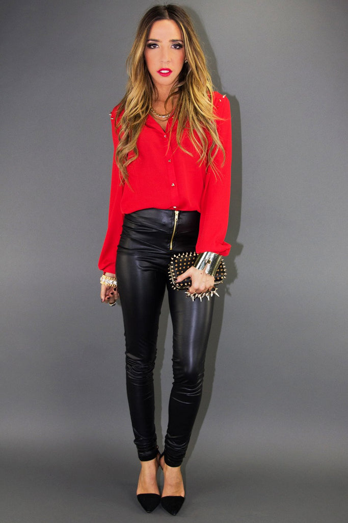 LEATHER  SKINNIES - Black - Haute & Rebellious