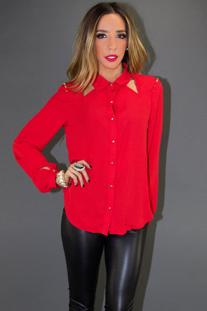 CUTOUT CHIFFON BLOUSE WITH STUDS - Red - Haute & Rebellious