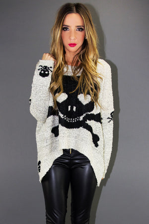 SKULL SWEATER - Gray/Black - Haute & Rebellious