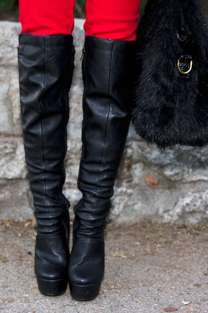 KNEE HIGH HIGH-HEEL BOOT - Black