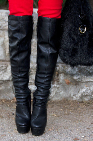 KNEE HIGH HIGH-HEEL BOOT - Black - Haute & Rebellious